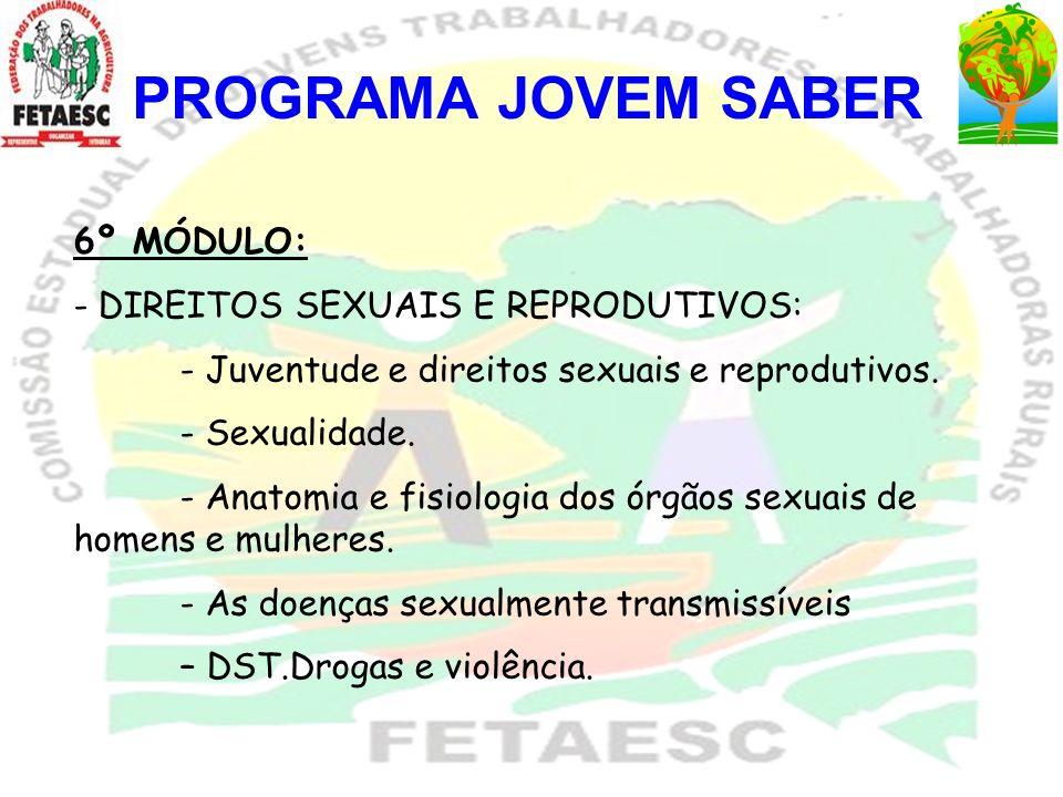 PROGRAMA JOVEM SABER 6º MÓDULO: DIREITOS SEXUAIS E REPRODUTIVOS: