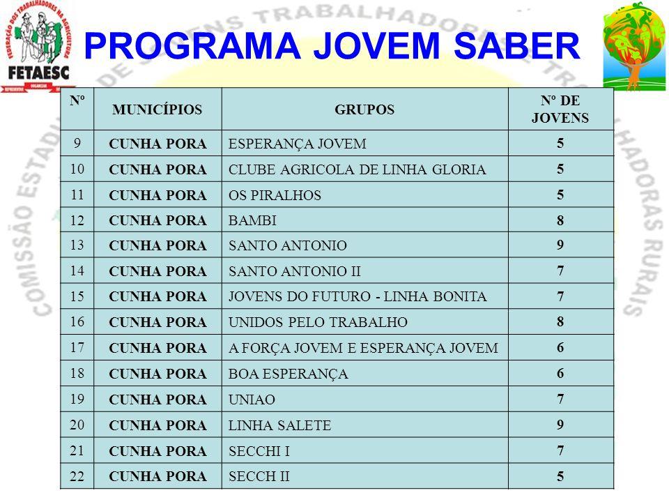 PROGRAMA JOVEM SABER Nº MUNICÍPIOS GRUPOS Nº DE JOVENS 9 CUNHA PORA