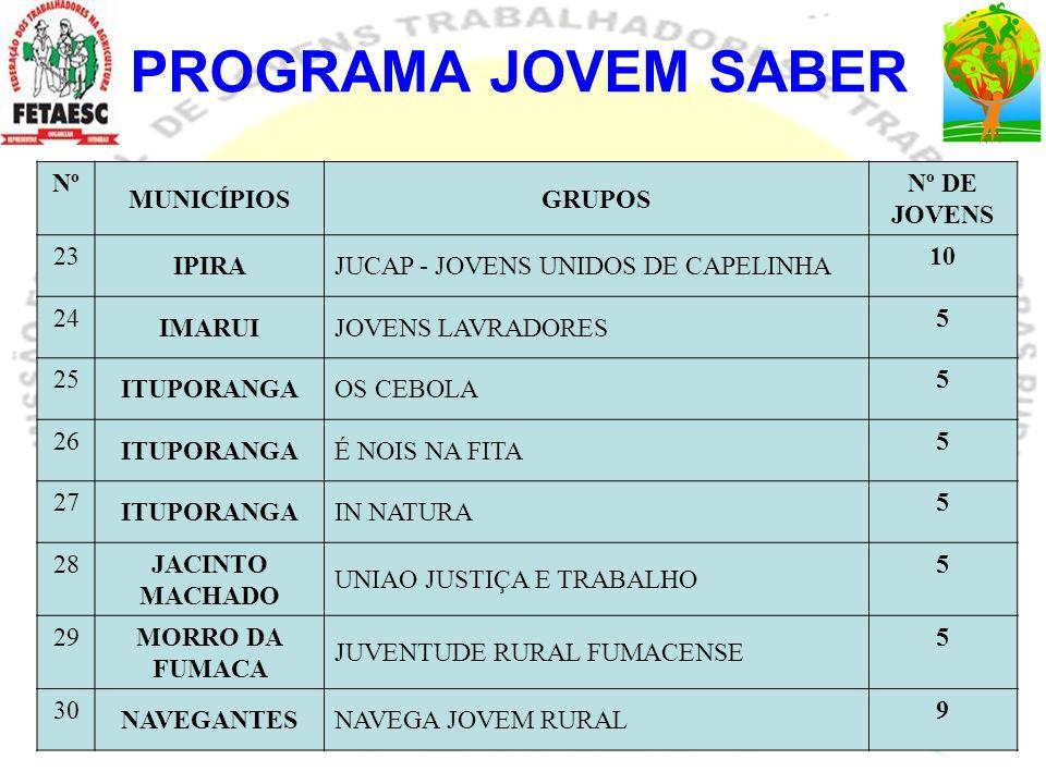 PROGRAMA JOVEM SABER Nº MUNICÍPIOS GRUPOS Nº DE JOVENS 23 IPIRA