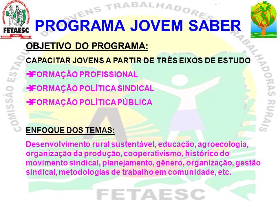 PROGRAMA JOVEM SABER OBJETIVO DO PROGRAMA: