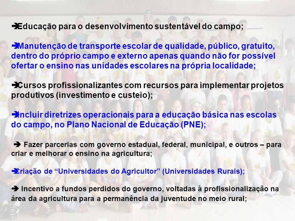Educação para o desenvolvimento sustentável do campo;