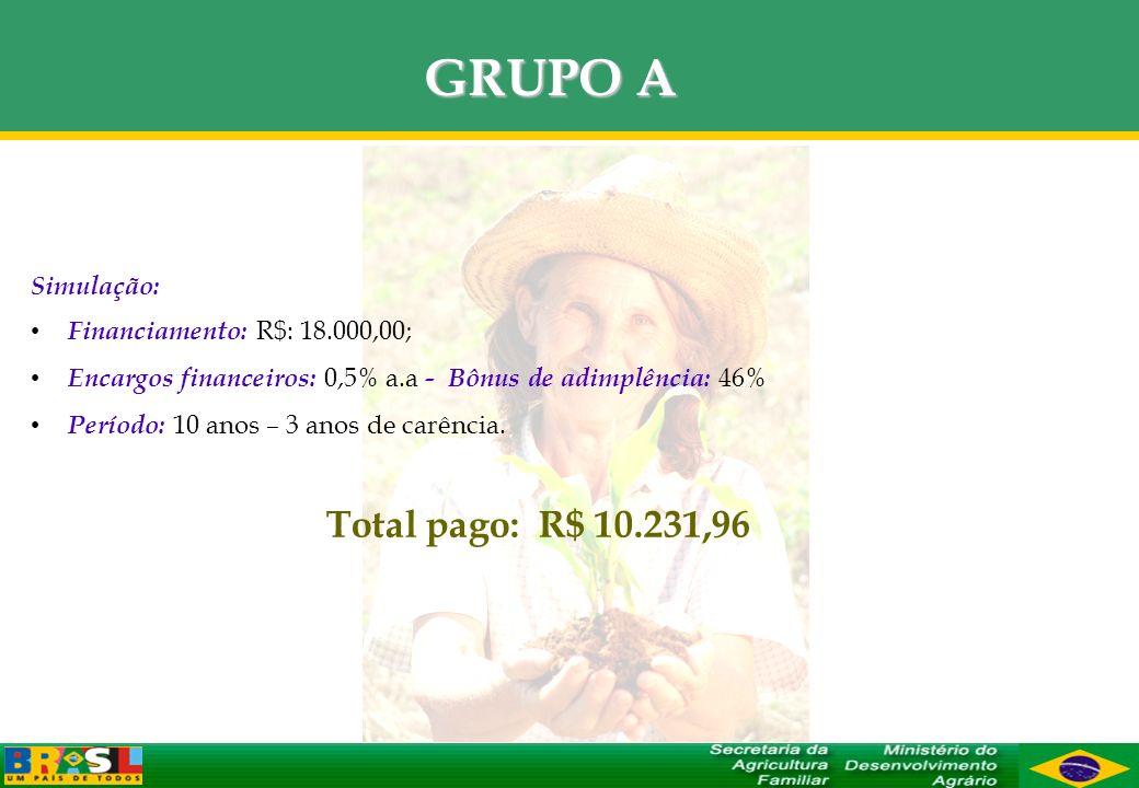 GRUPO A Total pago: R$ 10.231,96 Simulação: