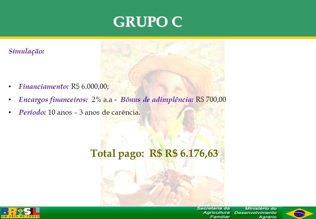 GRUPO C Total pago: R$ R$ 6.176,63 Simulação: