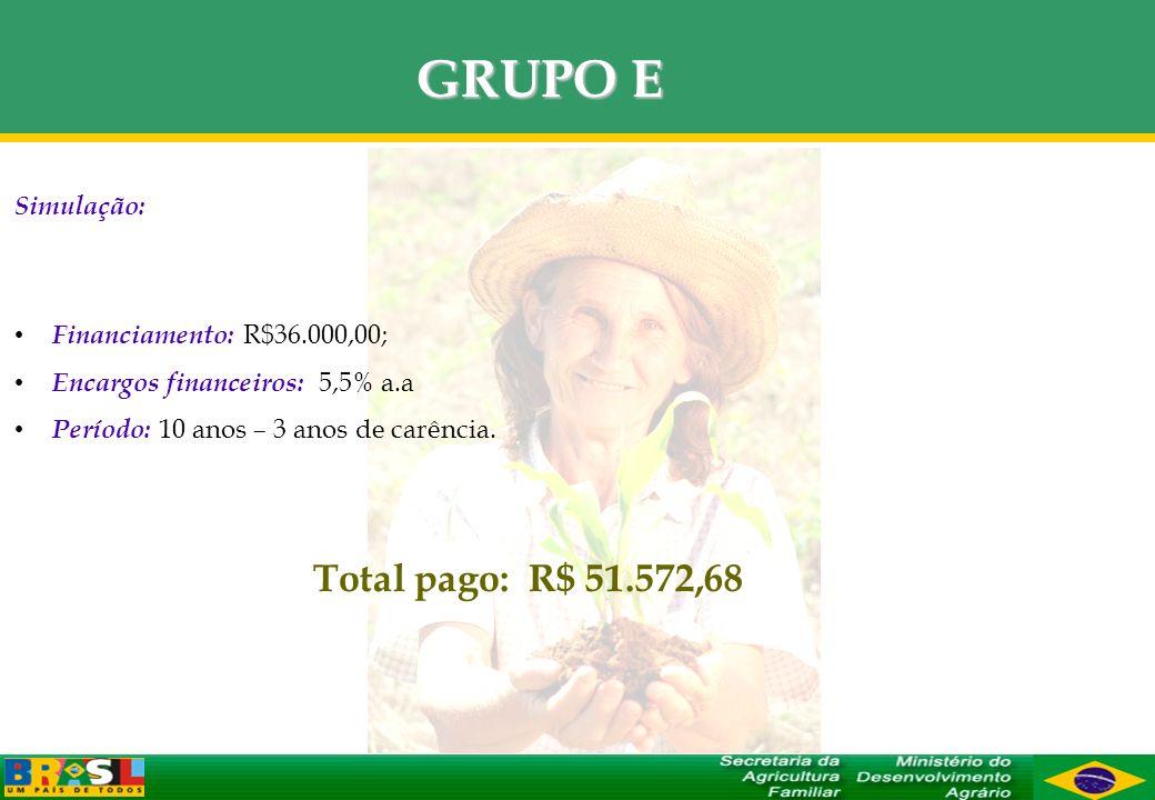 GRUPO E Total pago: R$ 51.572,68 Simulação: