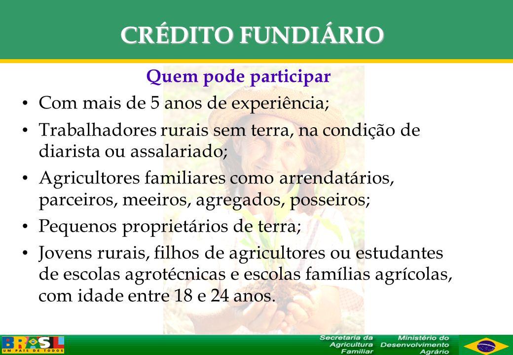 CRÉDITO FUNDIÁRIO Quem pode participar