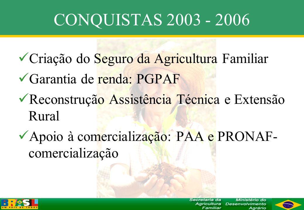 CONQUISTAS 2003 - 2006 Criação do Seguro da Agricultura Familiar