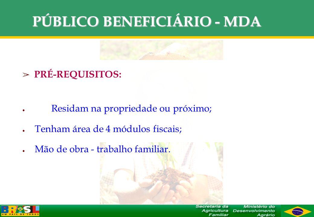 PÚBLICO BENEFICIÁRIO - MDA