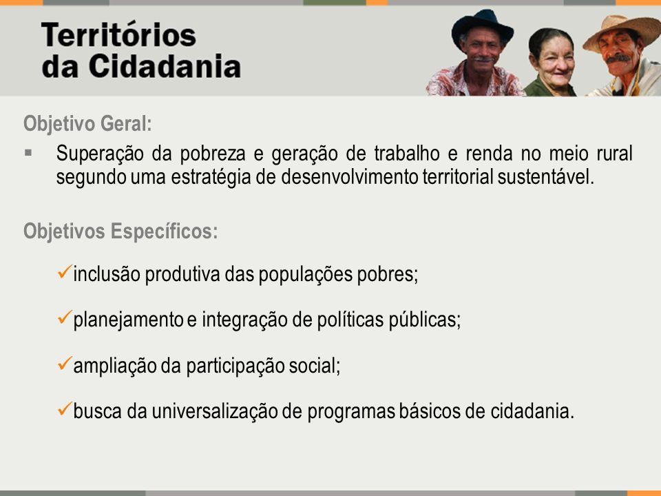 Objetivo Geral:Superação da pobreza e geração de trabalho e renda no meio rural segundo uma estratégia de desenvolvimento territorial sustentável.
