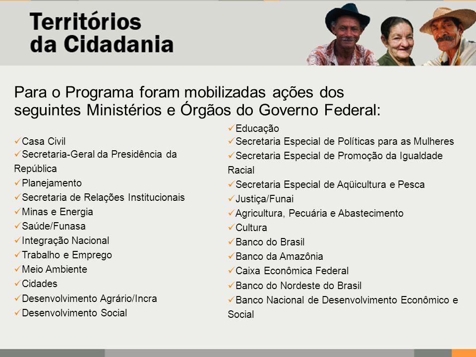 Para o Programa foram mobilizadas ações dos seguintes Ministérios e Órgãos do Governo Federal:
