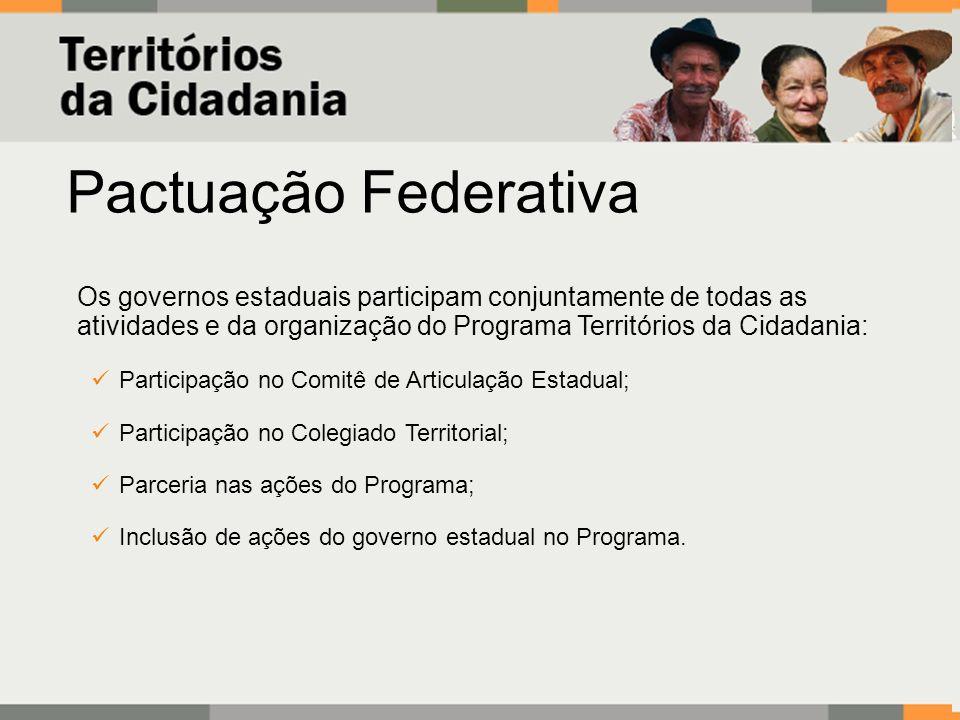 Pactuação FederativaOs governos estaduais participam conjuntamente de todas as atividades e da organização do Programa Territórios da Cidadania: