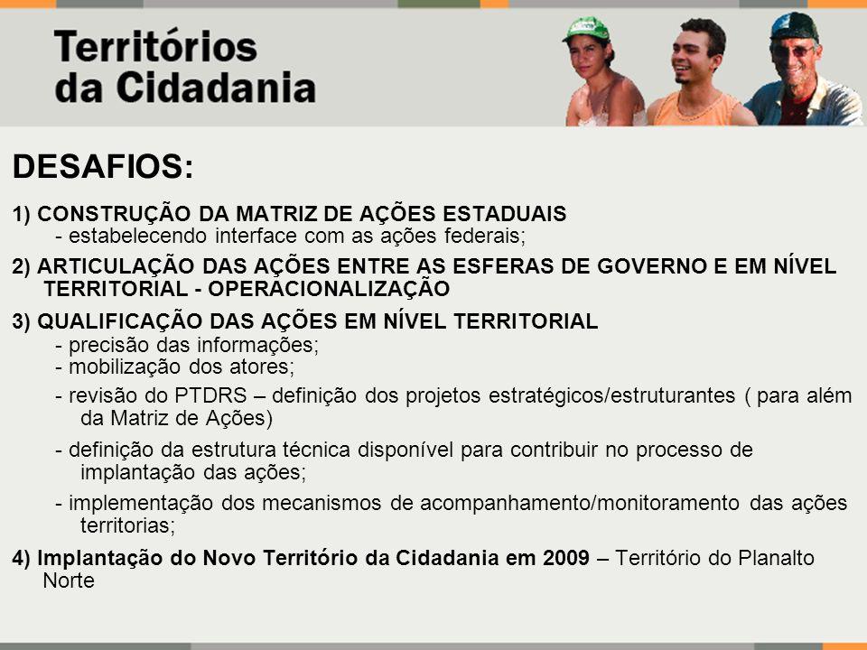 DESAFIOS: 1) CONSTRUÇÃO DA MATRIZ DE AÇÕES ESTADUAIS