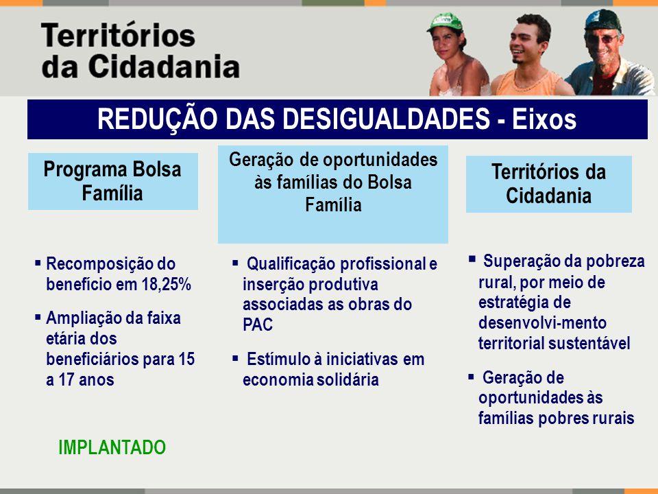 REDUÇÃO DAS DESIGUALDADES - Eixos