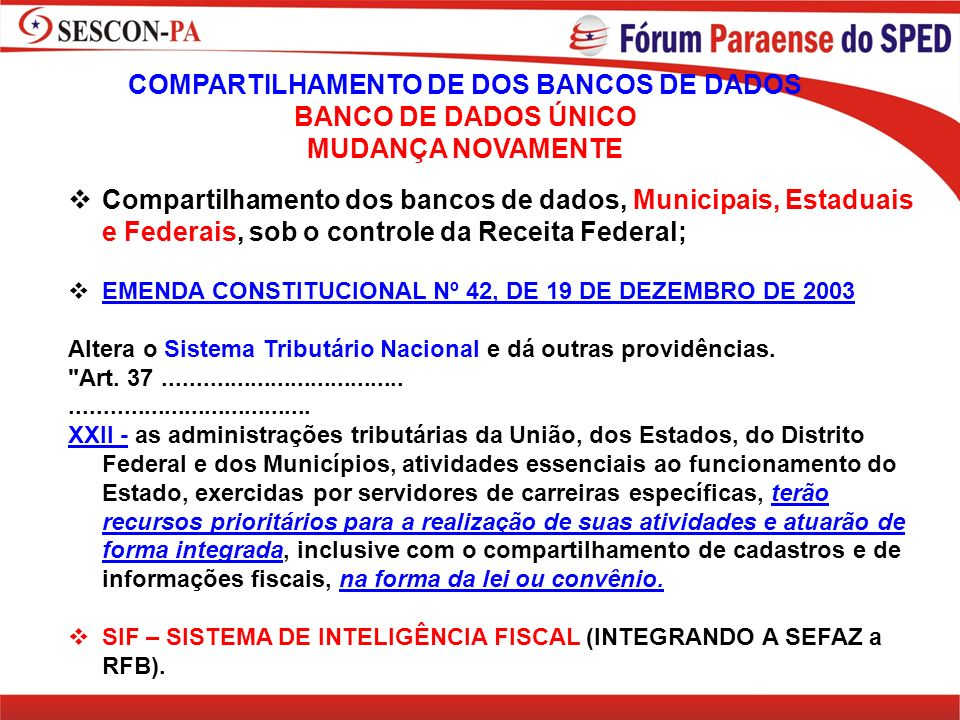 COMPARTILHAMENTO DE DOS BANCOS DE DADOS