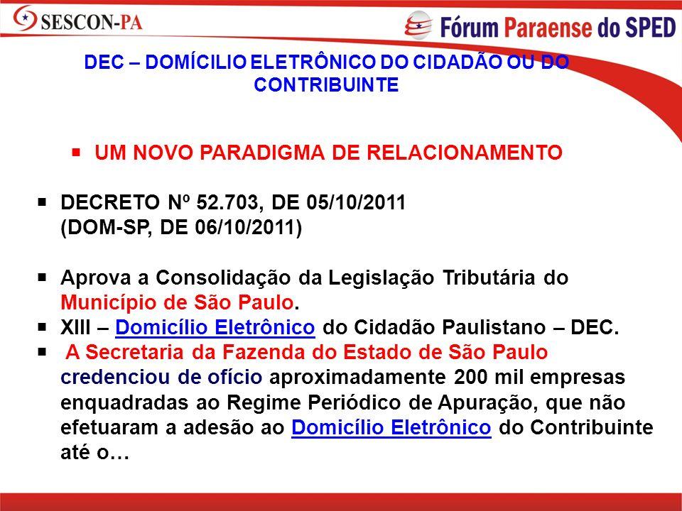 DEC – DOMÍCILIO ELETRÔNICO DO CIDADÃO OU DO CONTRIBUINTE