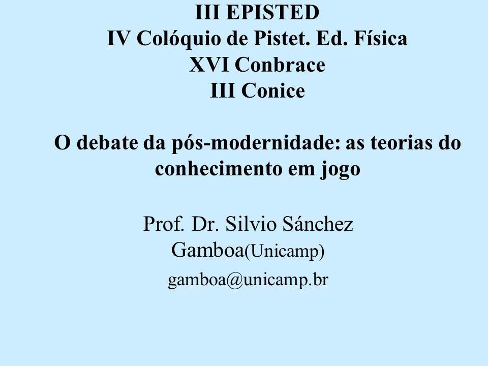 Prof. Dr. Silvio Sánchez Gamboa(Unicamp) gamboa@unicamp.br