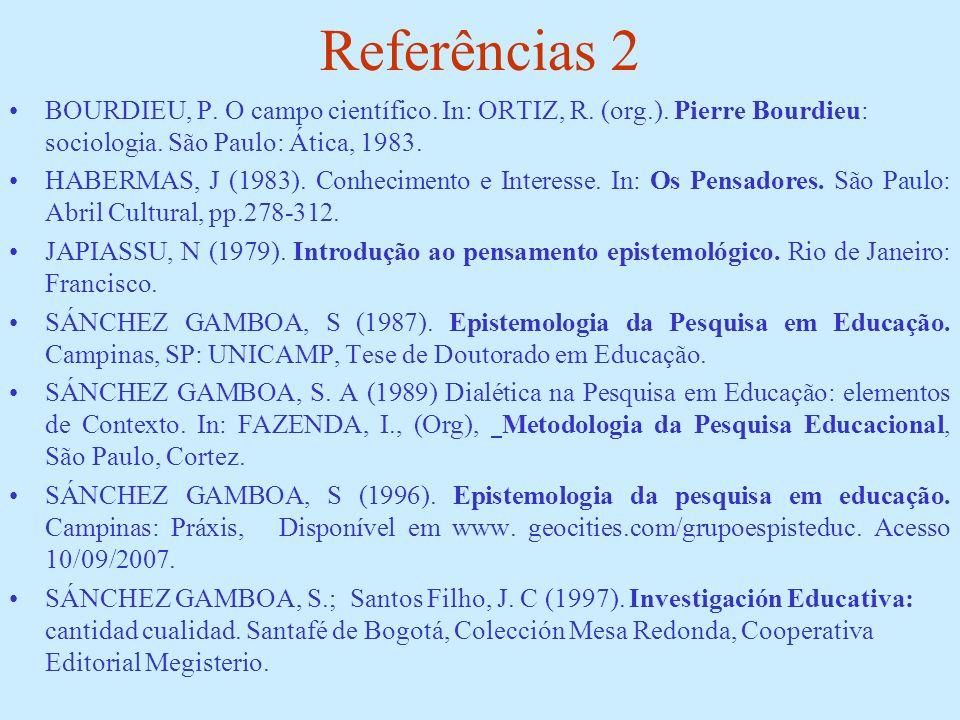 Referências 2BOURDIEU, P. O campo científico. In: ORTIZ, R. (org.). Pierre Bourdieu: sociologia. São Paulo: Ática, 1983.