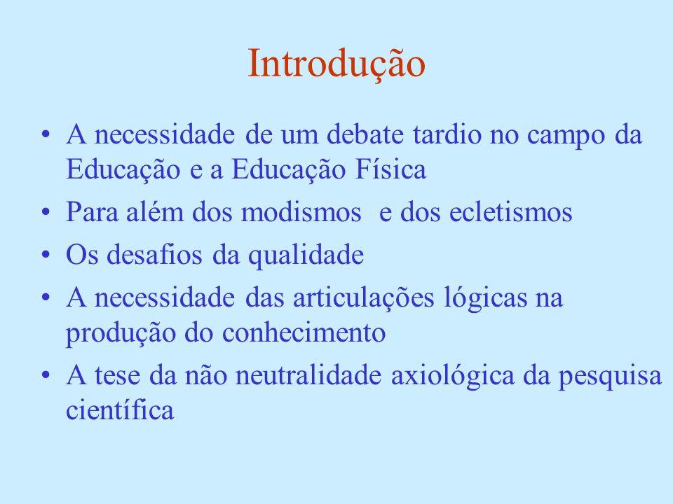 Introdução A necessidade de um debate tardio no campo da Educação e a Educação Física. Para além dos modismos e dos ecletismos.