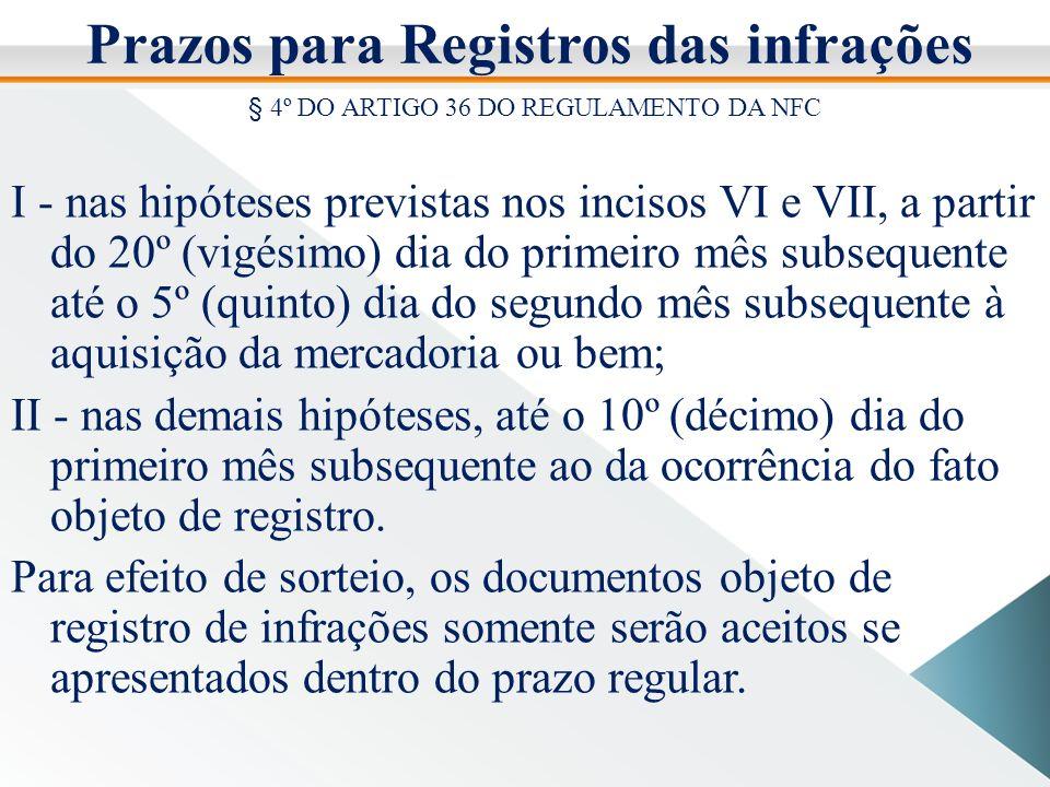 Prazos para Registros das infrações § 4º DO ARTIGO 36 DO REGULAMENTO DA NFC