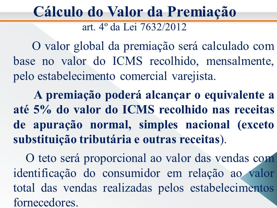 Cálculo do Valor da Premiação