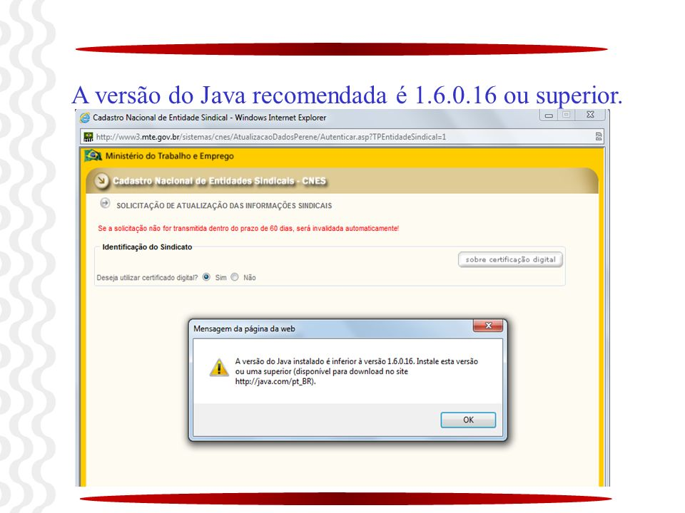 A versão do Java recomendada é 1.6.0.16 ou superior.