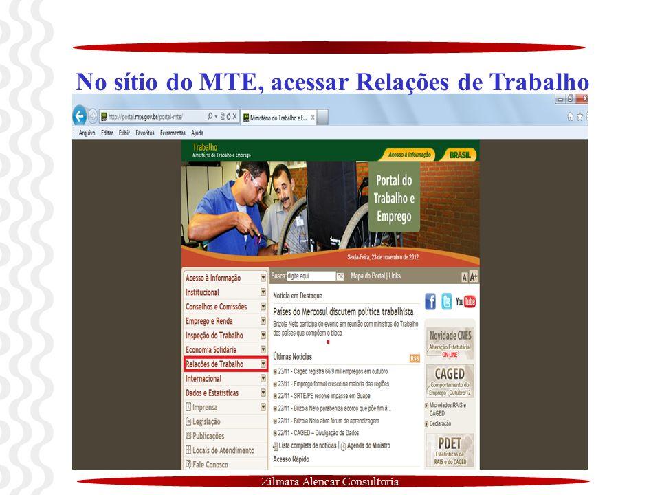 No sítio do MTE, acessar Relações de Trabalho