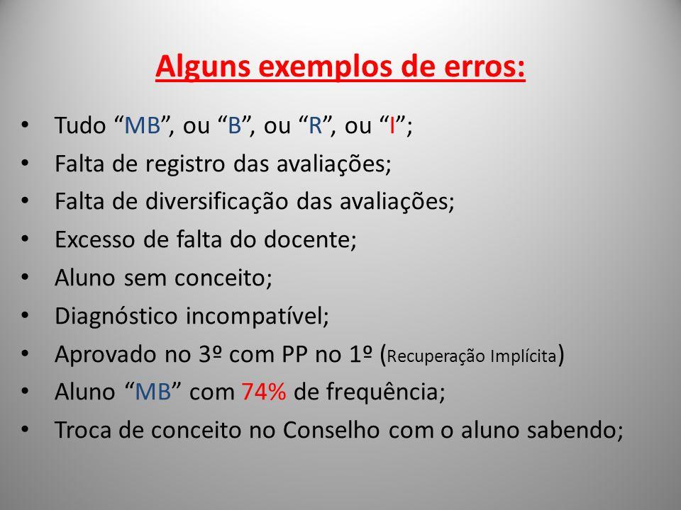 Alguns exemplos de erros: