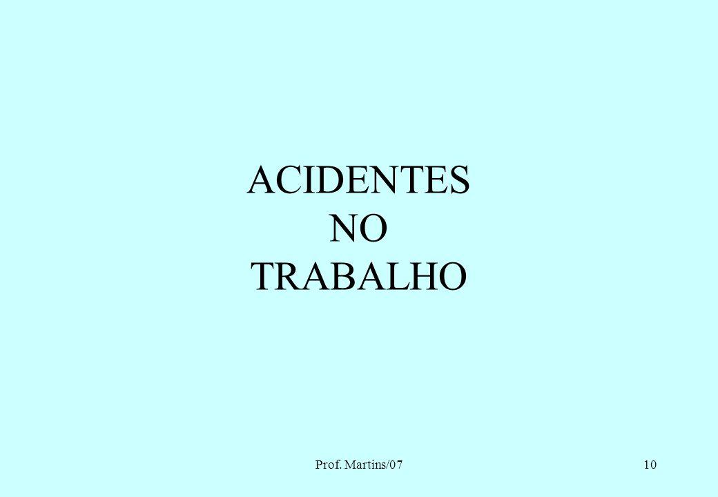 ACIDENTES NO TRABALHO Prof. Martins/07 Eng. MARTINS - 2007