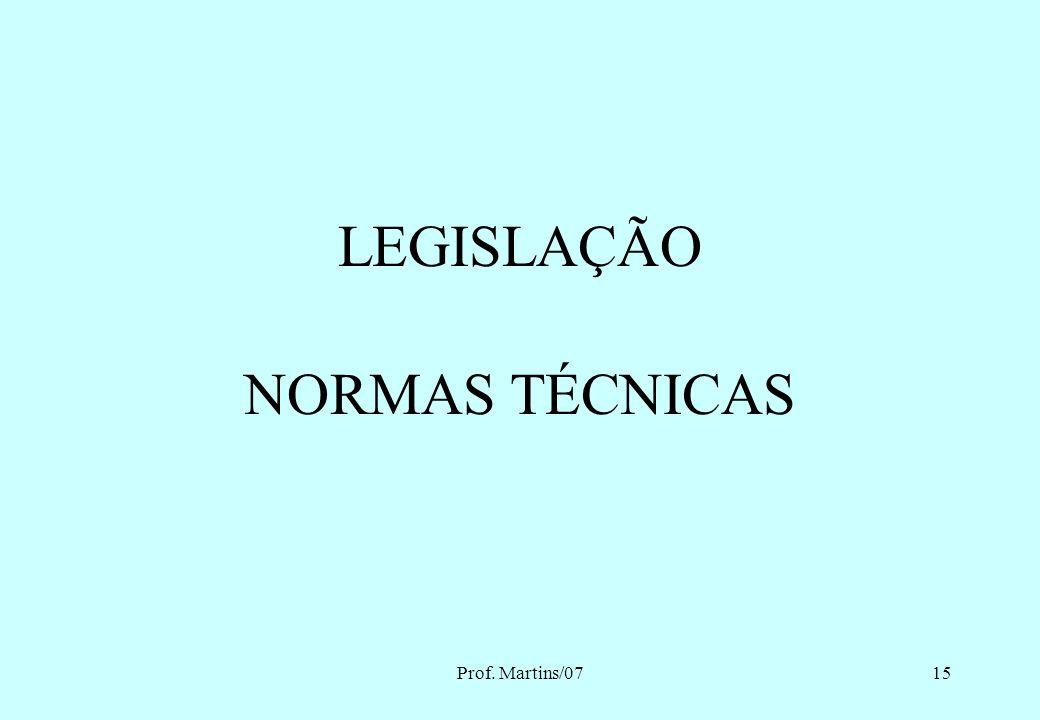 LEGISLAÇÃO NORMAS TÉCNICAS Prof. Martins/07 Eng. MARTINS - 2007