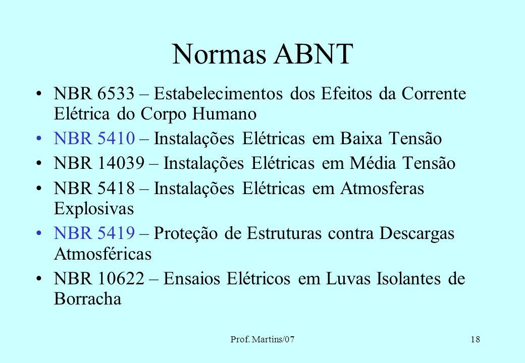 Normas ABNT NBR 6533 – Estabelecimentos dos Efeitos da Corrente Elétrica do Corpo Humano. NBR 5410 – Instalações Elétricas em Baixa Tensão.