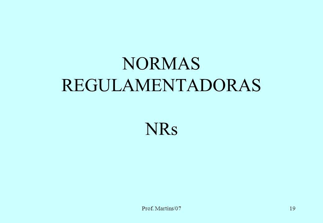 NORMAS REGULAMENTADORAS NRs