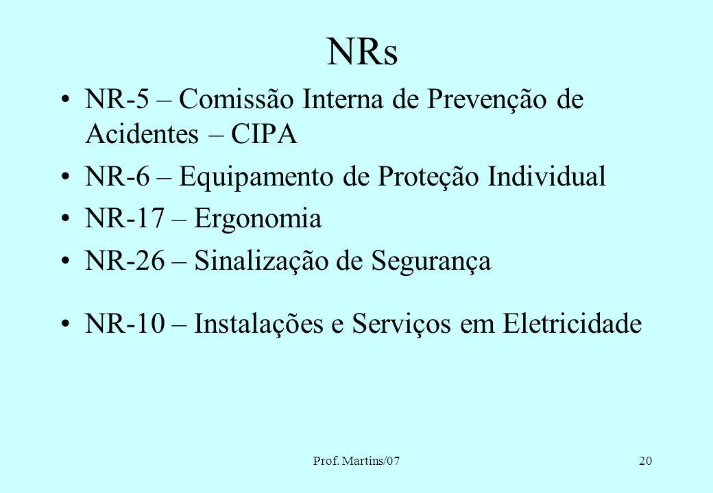 NRs NR-5 – Comissão Interna de Prevenção de Acidentes – CIPA