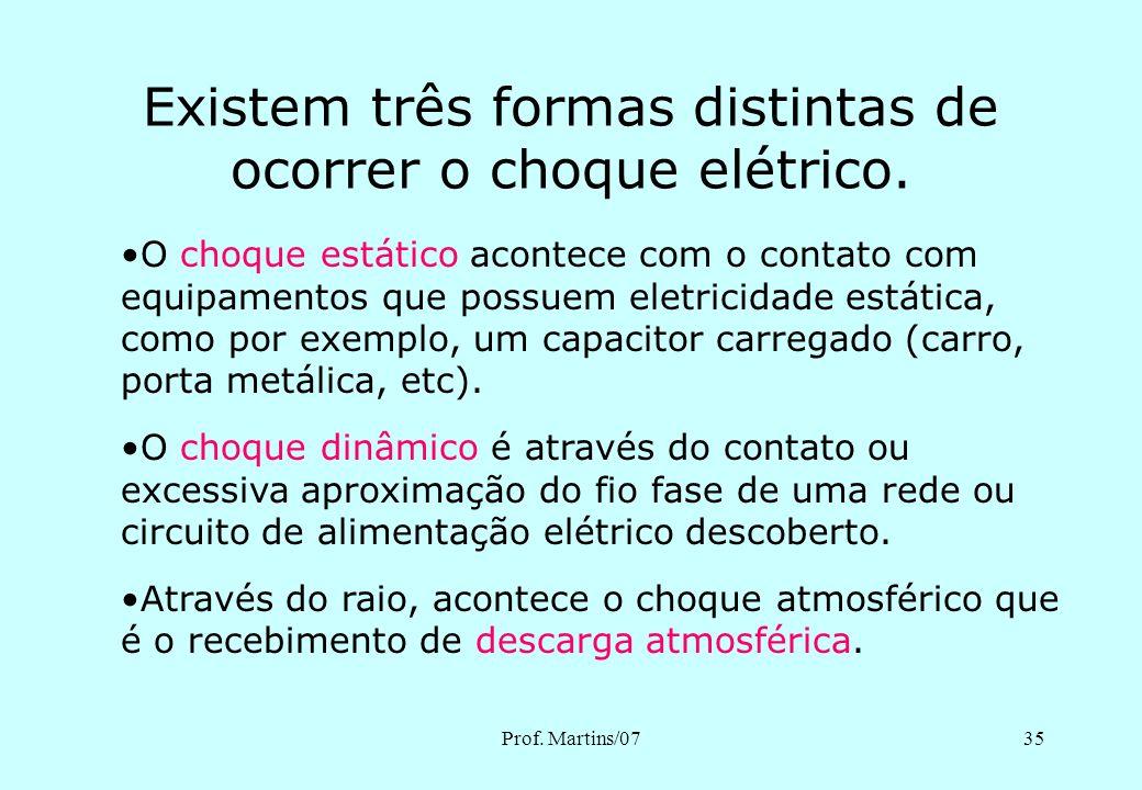 Existem três formas distintas de ocorrer o choque elétrico.