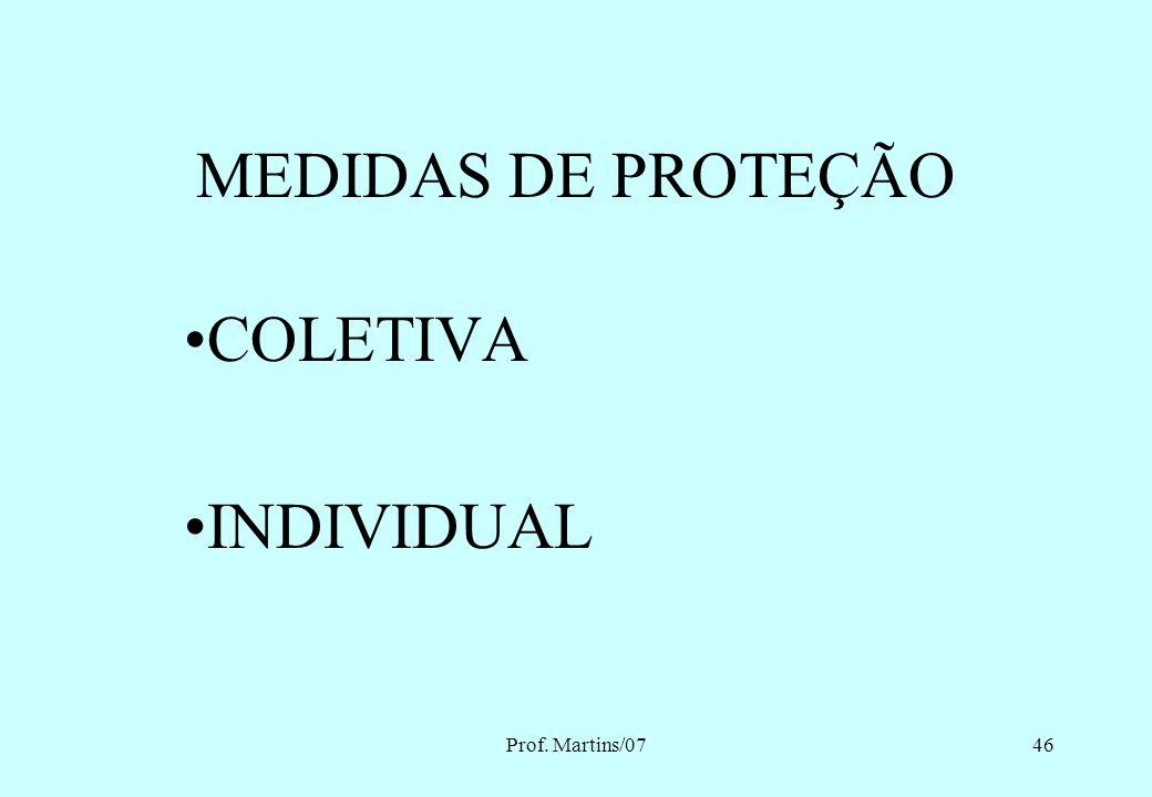 MEDIDAS DE PROTEÇÃO COLETIVA INDIVIDUAL Prof. Martins/07