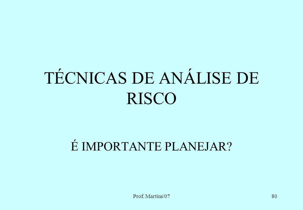 TÉCNICAS DE ANÁLISE DE RISCO