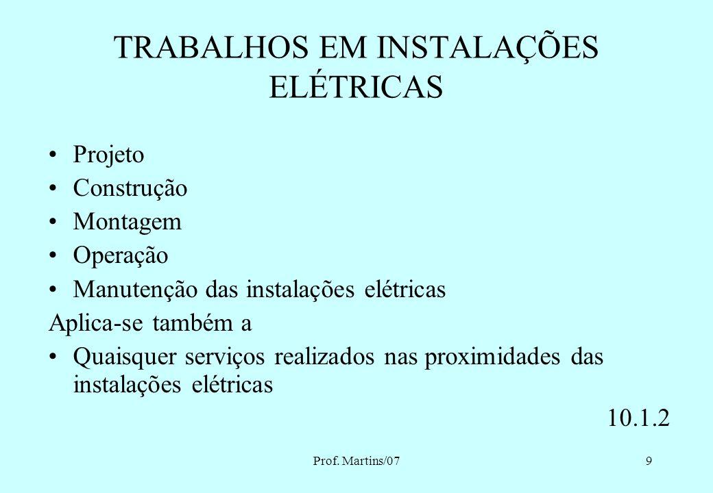TRABALHOS EM INSTALAÇÕES ELÉTRICAS