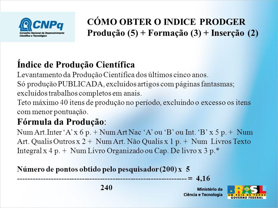 CÓMO OBTER O INDICE PRODGER Produção (5) + Formação (3) + Inserção (2)