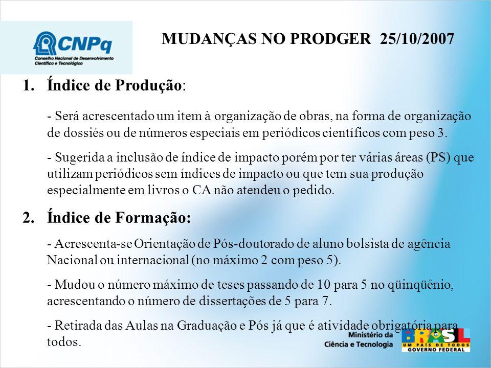 MUDANÇAS NO PRODGER 25/10/2007 Índice de Produção: