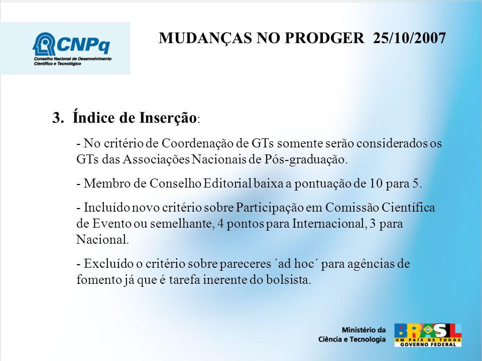 MUDANÇAS NO PRODGER 25/10/2007 3. Índice de Inserção: