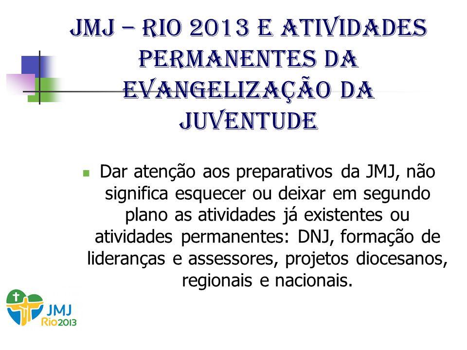 JMJ – Rio 2013 e Atividades permanentes da evangelização da juventude