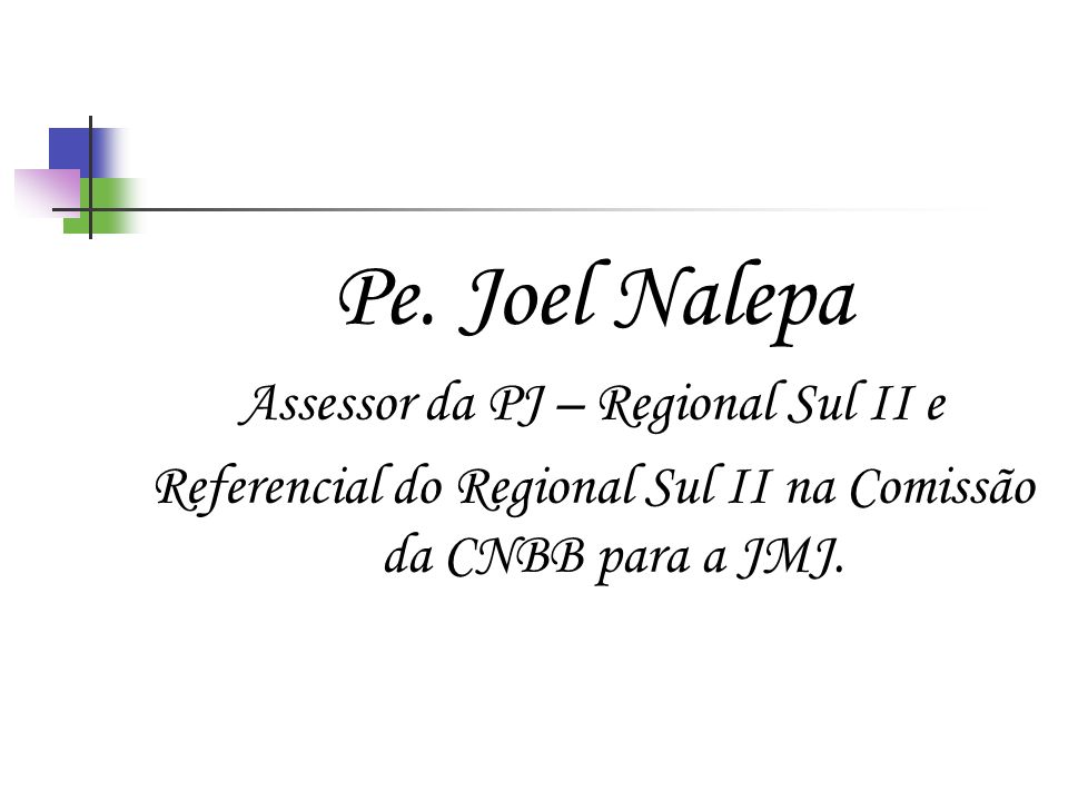Pe. Joel Nalepa Assessor da PJ – Regional Sul II e