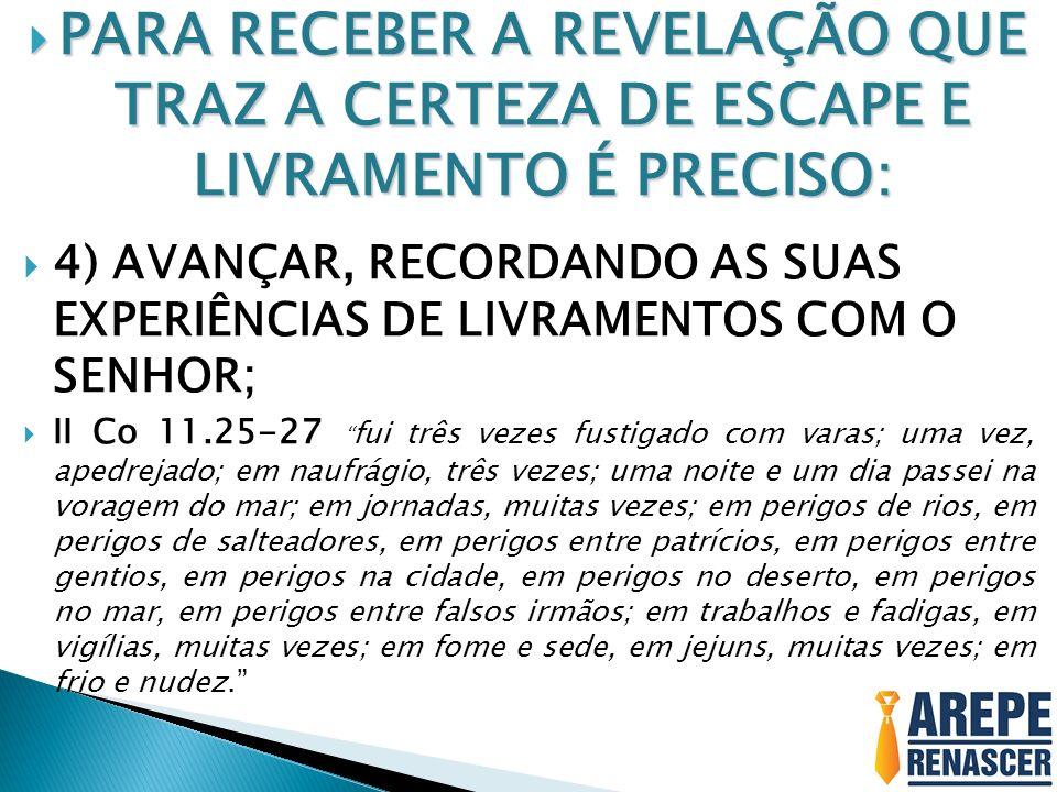 PARA RECEBER A REVELAÇÃO QUE TRAZ A CERTEZA DE ESCAPE E LIVRAMENTO É PRECISO: