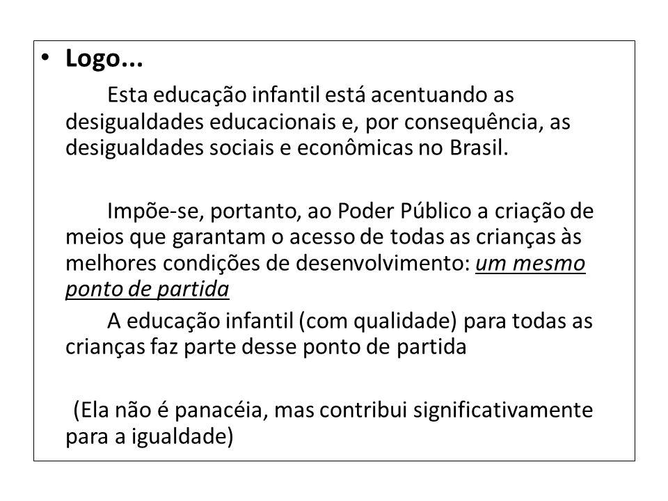 Logo... Esta educação infantil está acentuando as desigualdades educacionais e, por consequência, as desigualdades sociais e econômicas no Brasil.