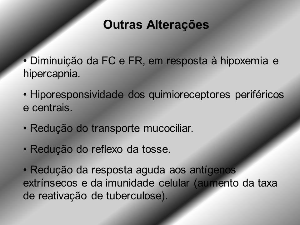Outras Alterações Diminuição da FC e FR, em resposta à hipoxemia e hipercapnia. Hiporesponsividade dos quimioreceptores periféricos e centrais.