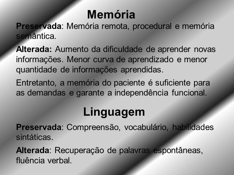 Memória Preservada: Memória remota, procedural e memória semântica.