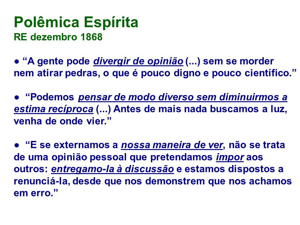 Polêmica Espírita RE dezembro 1868