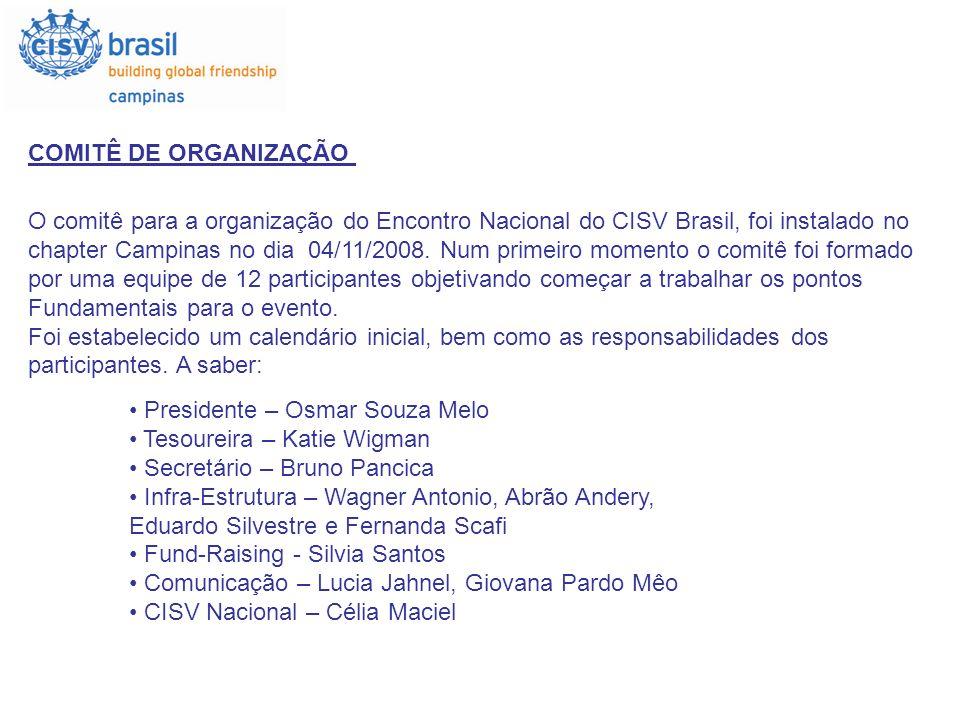 COMITÊ DE ORGANIZAÇÃO O comitê para a organização do Encontro Nacional do CISV Brasil, foi instalado no.
