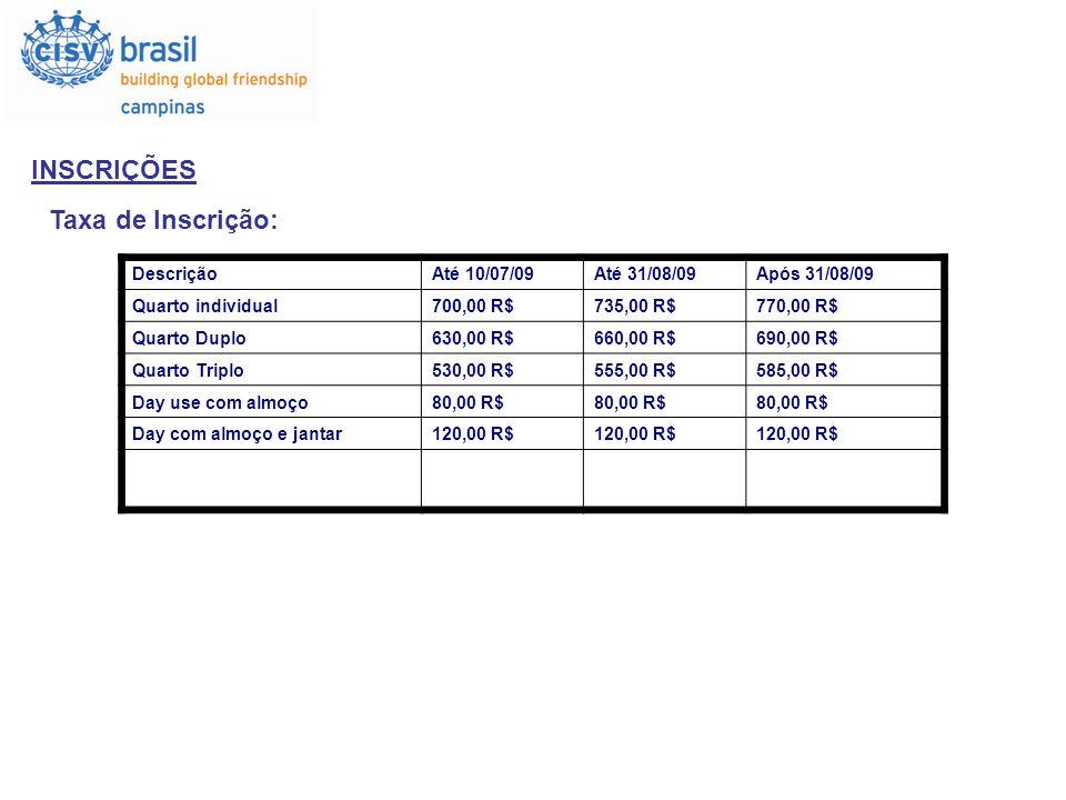 INSCRIÇÕES Taxa de Inscrição: Descrição Até 10/07/09 Até 31/08/09