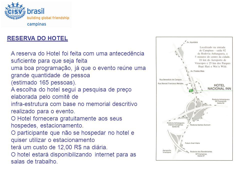 RESERVA DO HOTELA reserva do Hotel foi feita com uma antecedência suficiente para que seja feita.