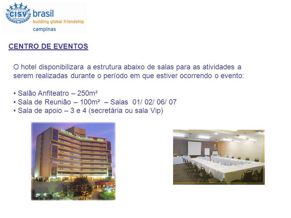 CENTRO DE EVENTOS O hotel disponibilizara a estrutura abaixo de salas para as atividades a.