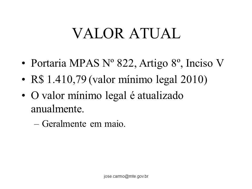 VALOR ATUAL Portaria MPAS Nº 822, Artigo 8º, Inciso V
